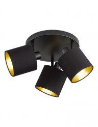 Drielichts plafondlamp zwart met goud