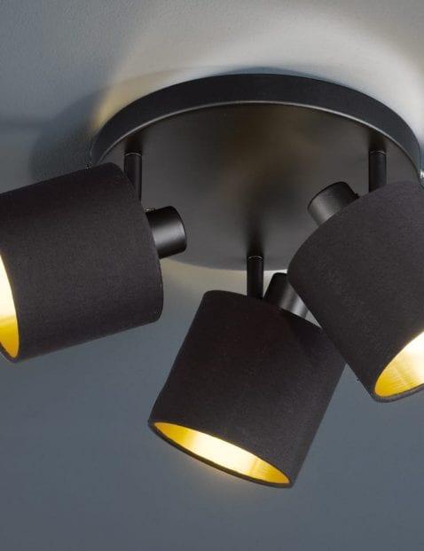 Drielichts-plafondlamp-zwart-met-goud-2
