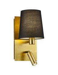 Goudkleurige wandlamp met extra leeslampje