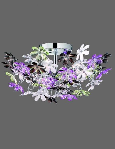 Grote plafondlamp met paars en witte bloemen