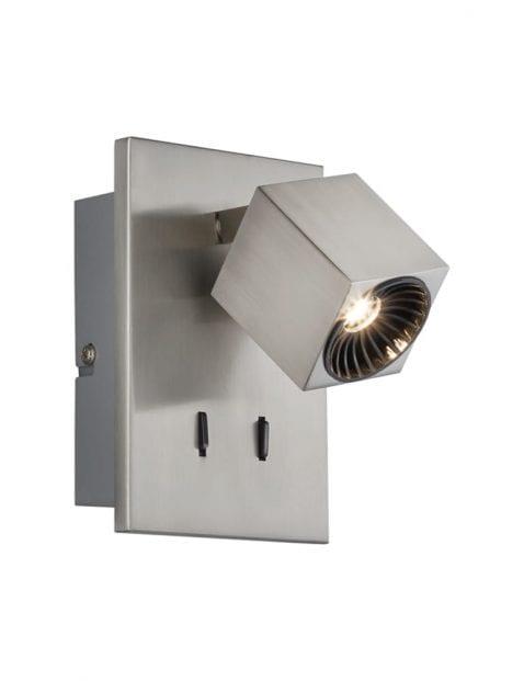 Kantelbare wandlamp staalkleurig