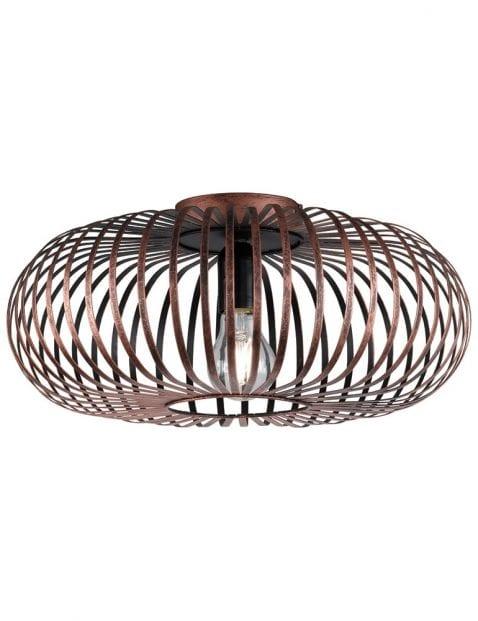 Koperkleurige spijlen plafondlamp