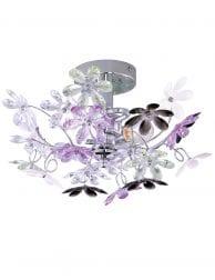 Plafondlamp met wit en paarse bloemen