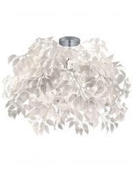 Plafondlamp met witte veren