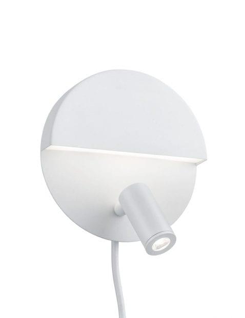 Ronde wandlamp wit met kantelbare lamp