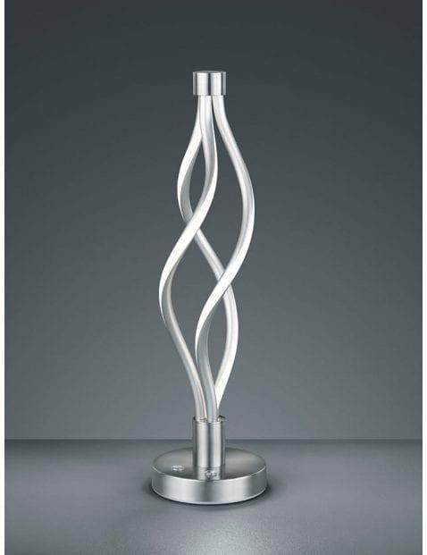 Gedraaide LED tafellamp Trio Leuchten Loop staalkleurig
