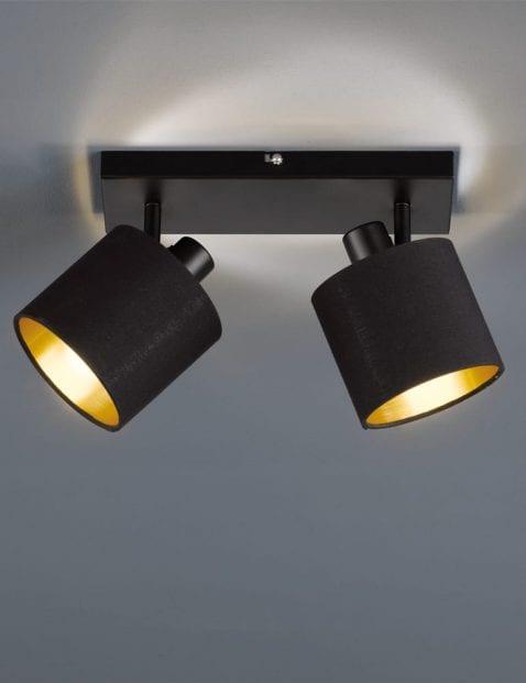 Tweelichts-plafondspot-zwart-met-goud-1