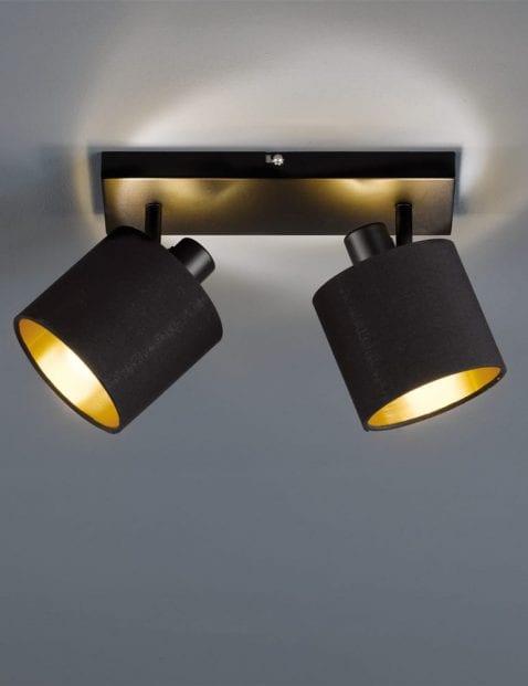 Tweelichts-plafondspot-zwart-met-goud-3