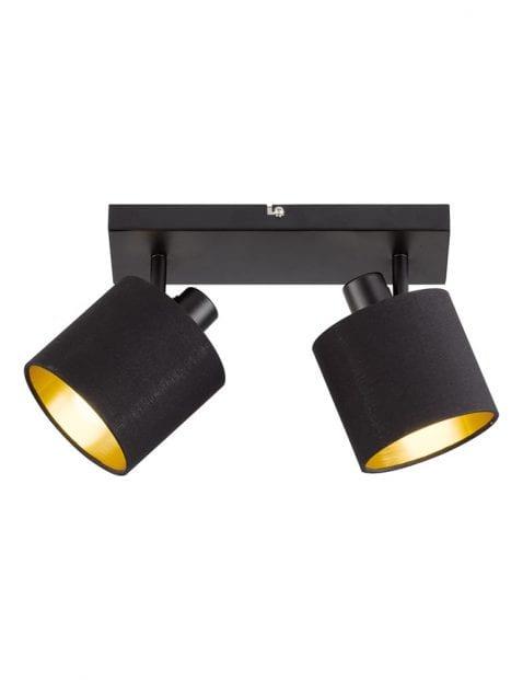 Tweelichts plafondspot zwart met goud