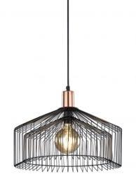 Draadlamp zwart Trio Leuchten Tanja met koperen detail