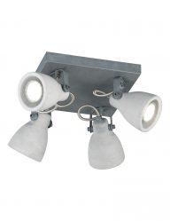 Vierlichts plafondlamp industrieel