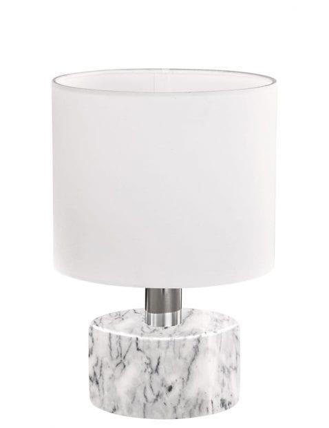 Witte tafellamp met marmeren voet