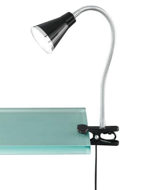 Zwarte klemlamp tafel