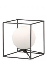 Zwarte kubuslamp met bol