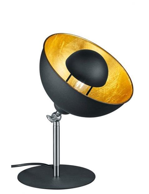 Zwarte tafellamp met gouden binnenzijde