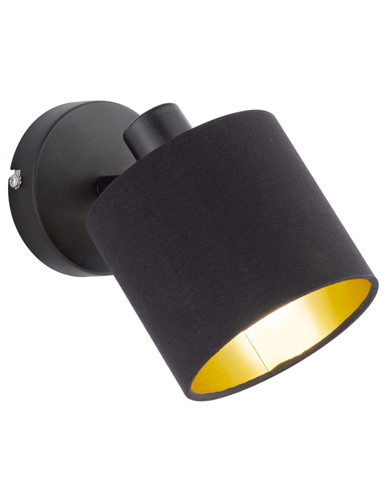 Zwarte Wandlamp Met Gouden Binnenzijde Reality Tommy Directlampen Nl
