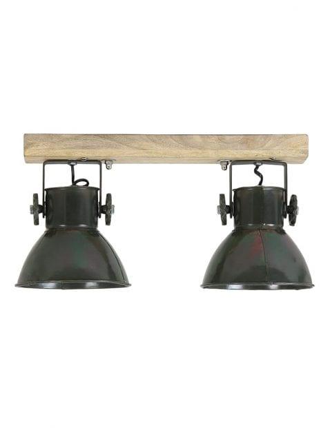 2-lichts plafondlamp industrieel zwart met hout