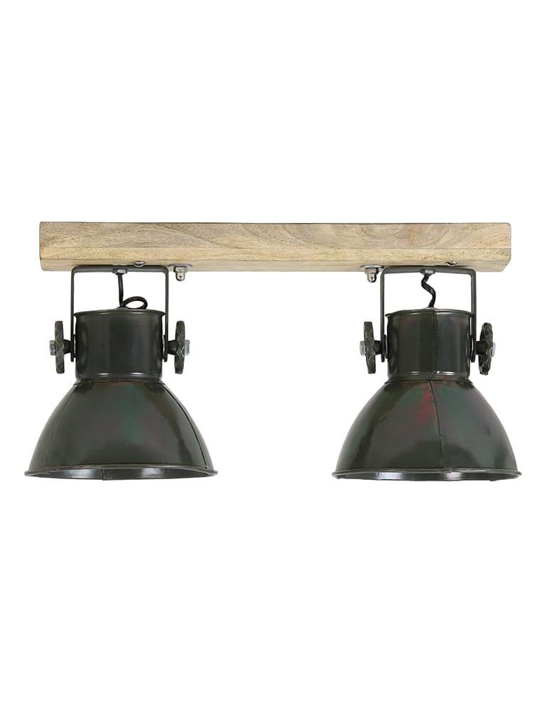 Afbeelding van 2-lichts plafondlamp industrieel legergroen met hout Light&Living Elay