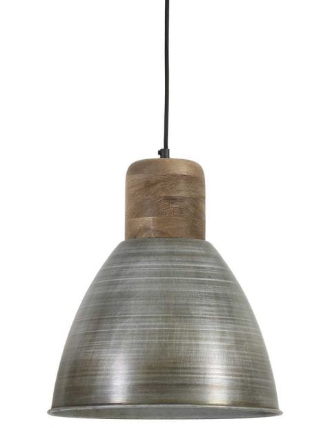 Antiek zilveren hanglamp met houten opzetstuk