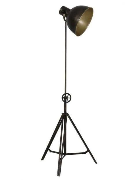 Bronzen driepoot vloerlamp
