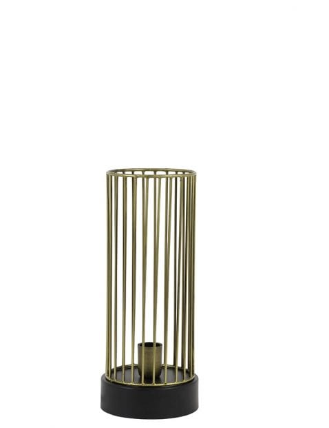 Gouden kooilampje tafel met zwart opzetstuk