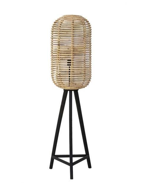 Driepoot vloerlamp met bamboe kap