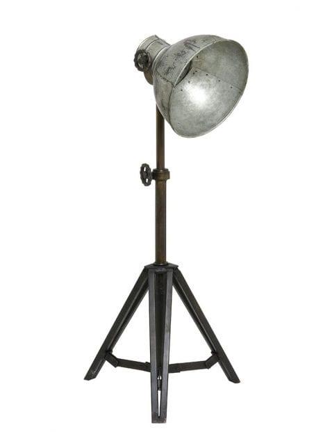 Driepoot vloerlamp met zilveren kap