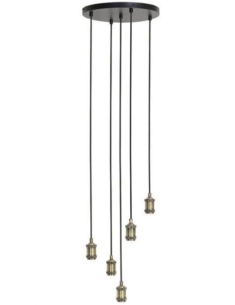 Gezellige 5-lichts hanglamp zwart met staal