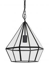 Glazen hanglamp met zwart staal
