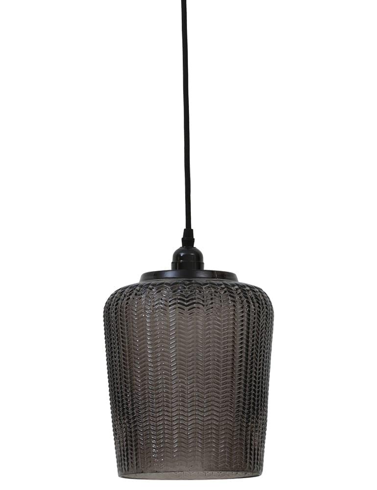 grijze glazen hanglamp met patroon light&living martina