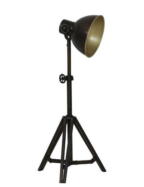 Grote driepoot tafellamp met bronzen binnenkant