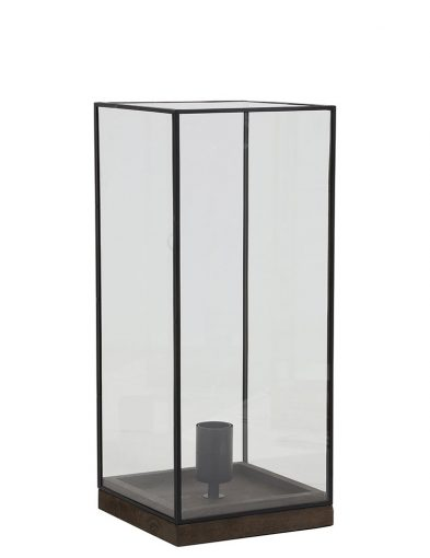 Grote tafellamp met glas en zwarte stalen frame