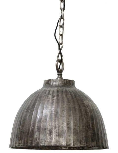 Grote zilveren hanglamp industrieel