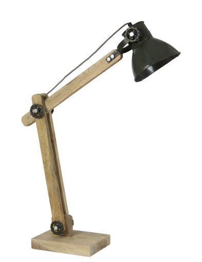 Houten tafellamp industrieel