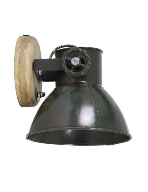 Industriële wandlamp zwart met houten detail