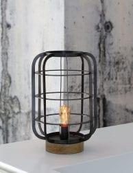 Landelijk design tafellampje met hout