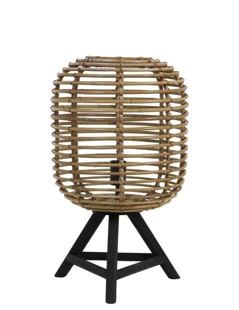 Landelijk driepoot tafellampje met bamboe