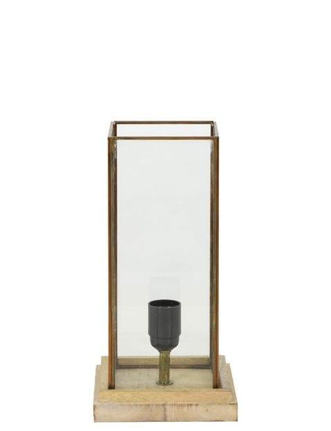 Landelijke tafellamp met hout en glas