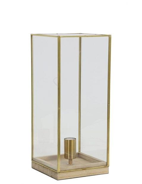 Lange tafellamp met licht hout en gouden details
