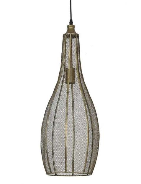 Langwerpige hanglamp gaas brons