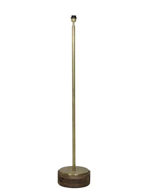 Licht bronzen lampenvoet met houten voet