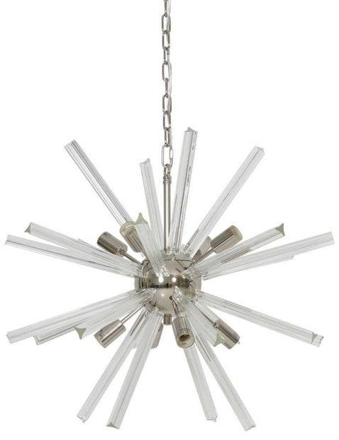 Opvallende designer hanglamp wit met staal