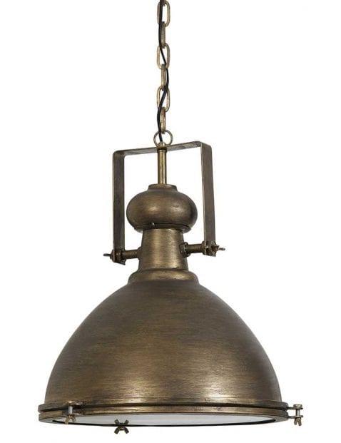 Robuuste hanglamp brons met glas