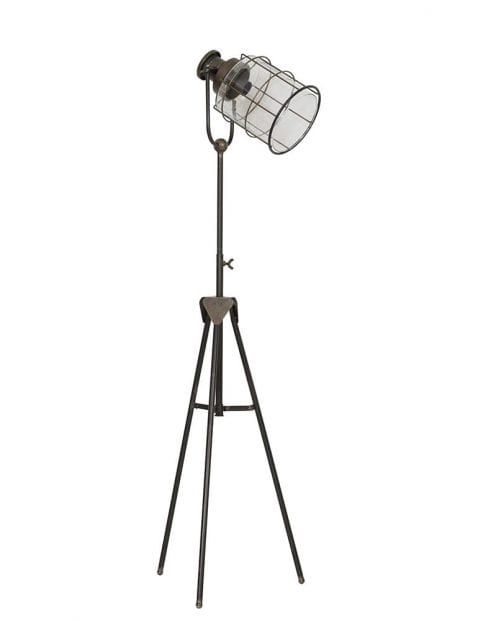 Rustieke bruine driepotige vloerlamp