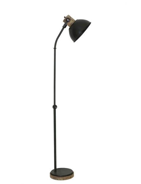 Rustieke vloerlamp legergroen met licht houten details