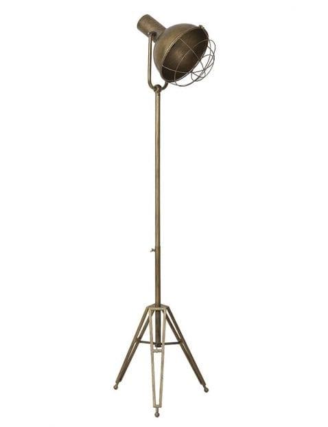 Stoere driepotige vloerlamp brons