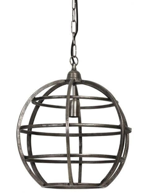 Zilveren bolvormige hanglamp