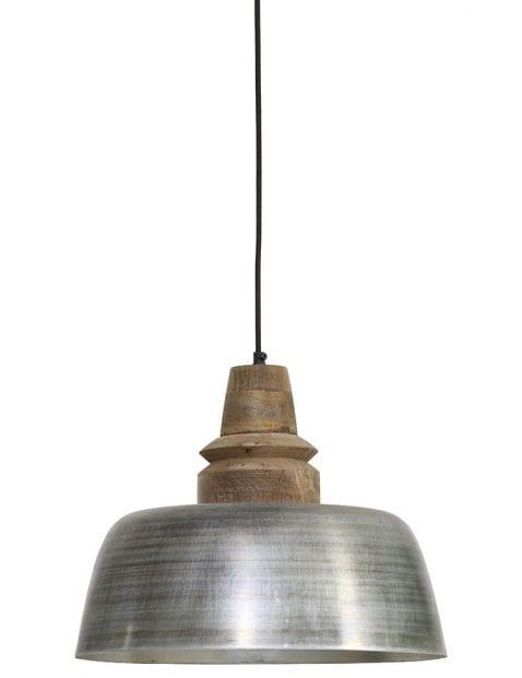 Zilveren hanglamp met houten opzetstuk