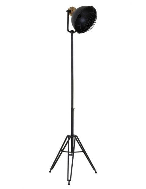 Zwarte driepoot lamp met houten detail