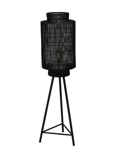 Zwarte driepoot vloerlamp met draadkap